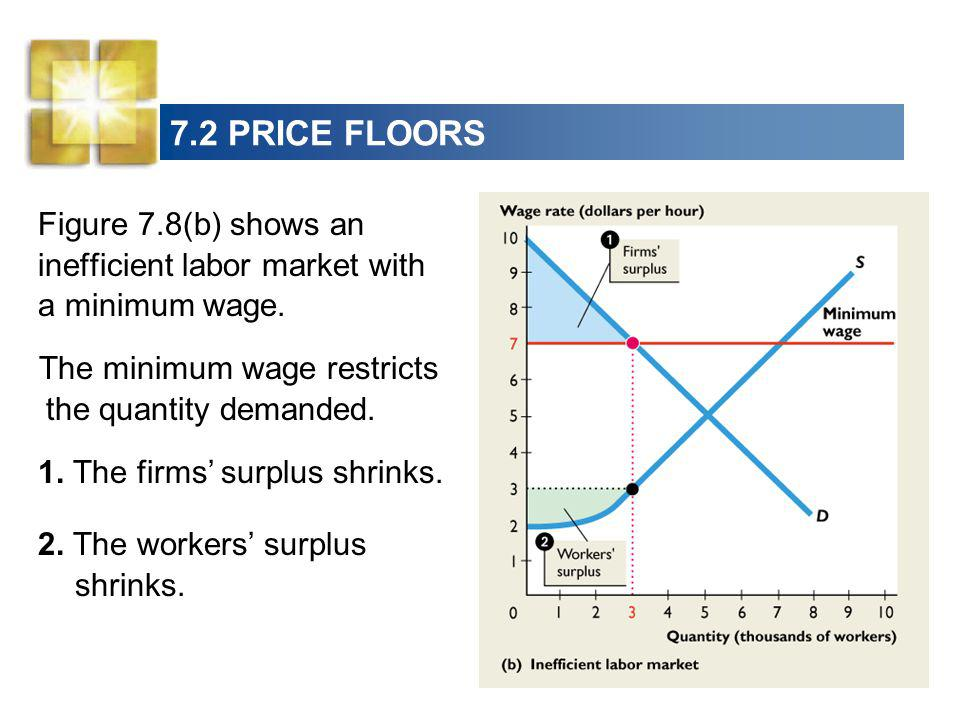 7.2 PRICE FLOORS Figure 7.8(b) shows an inefficient labor market with a minimum wage. The minimum wage restricts the quantity demanded.