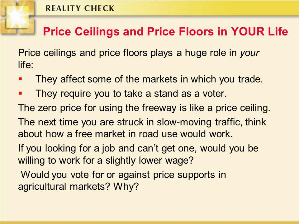 Price Ceilings and Price Floors in YOUR Life