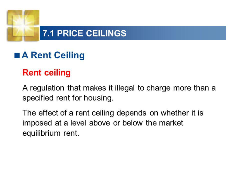 A Rent Ceiling 7.1 PRICE CEILINGS Rent ceiling