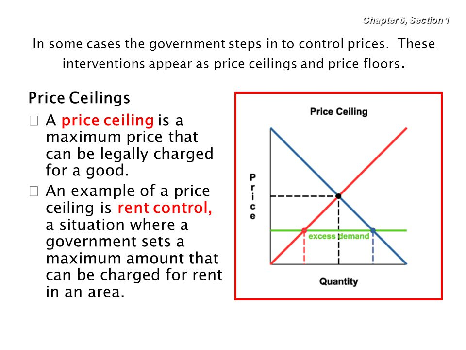 Chapter 6, Section 1 In some cases the government steps in to control prices. These interventions appear as price ceilings and price floors.