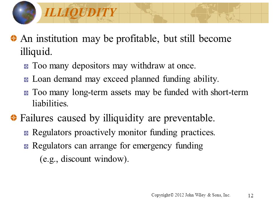 ILLIQUDITY An institution may be profitable, but still become illiquid. Too many depositors may withdraw at once.