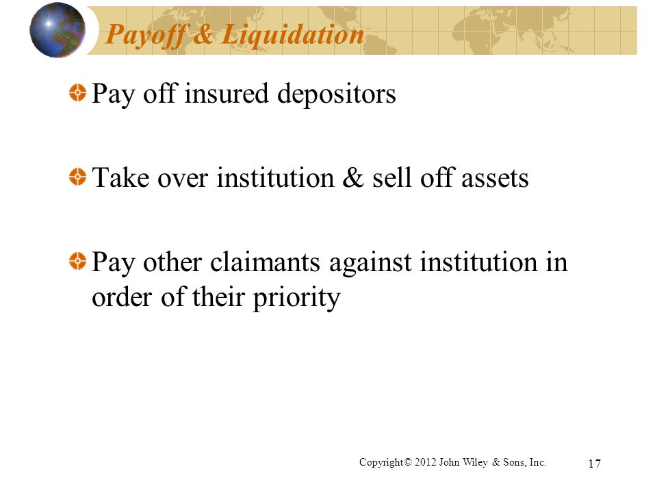 Pay off insured depositors Take over institution & sell off assets