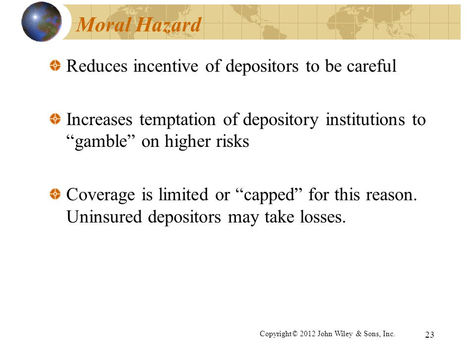 Moral Hazard Reduces incentive of depositors to be careful