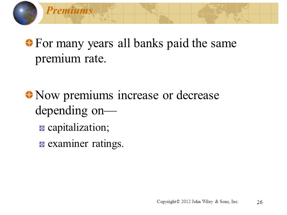 For many years all banks paid the same premium rate.