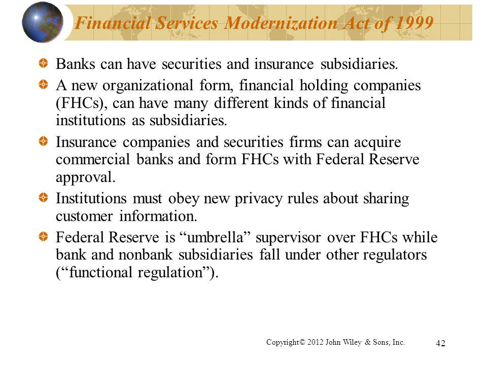 Financial Services Modernization Act of 1999