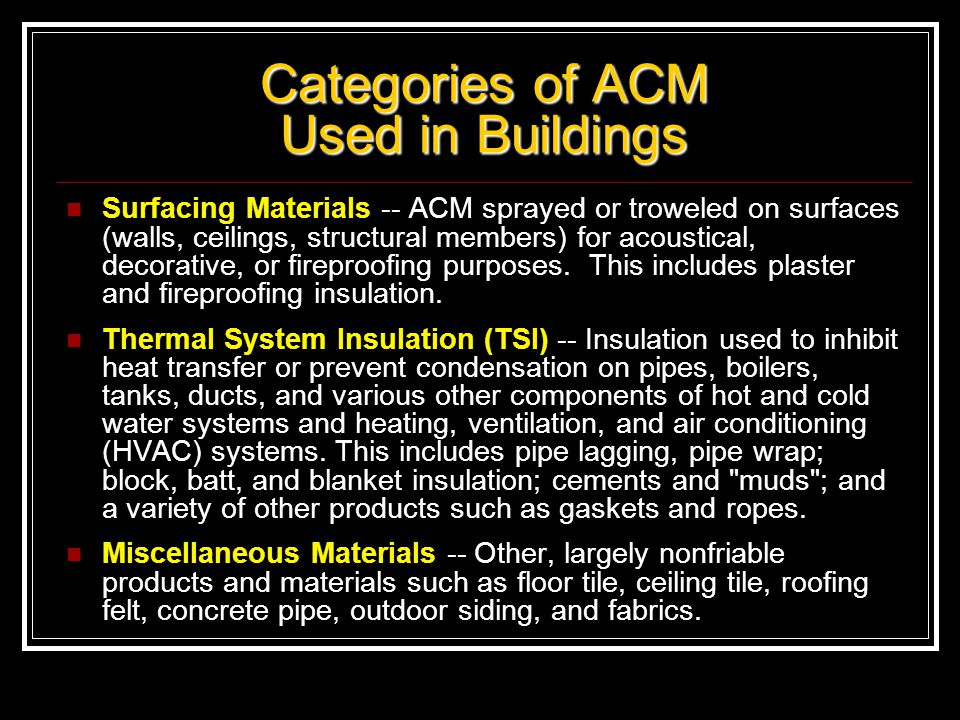Categories of ACM Used in Buildings