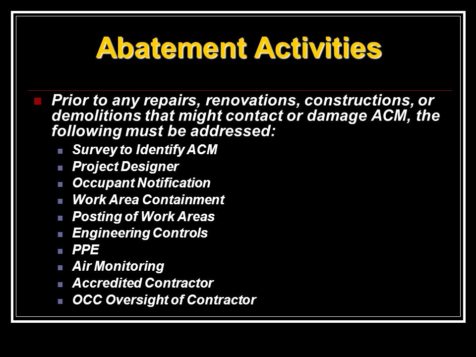 Abatement Activities