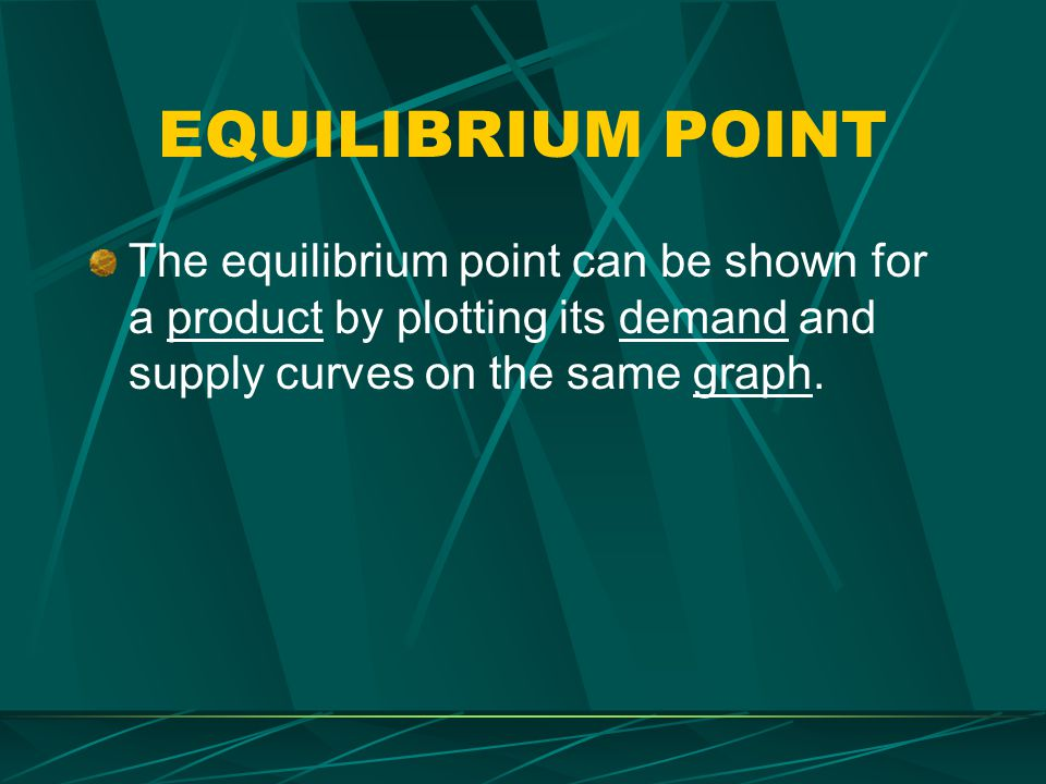 EQUILIBRIUM POINT The equilibrium point can be shown for a product by plotting its demand and supply curves on the same graph.