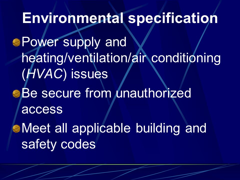 Environmental specification