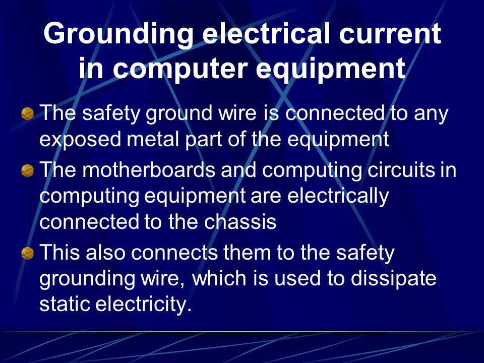 Grounding electrical current in computer equipment