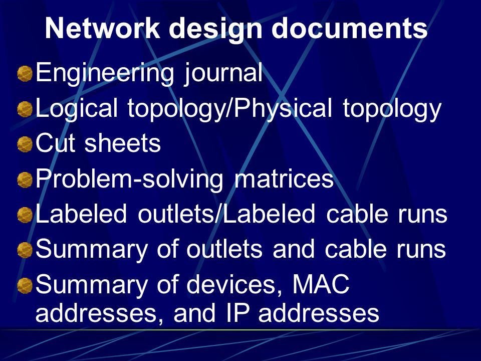 Network design documents