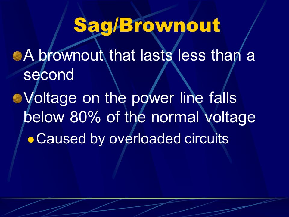 Sag/Brownout A brownout that lasts less than a second
