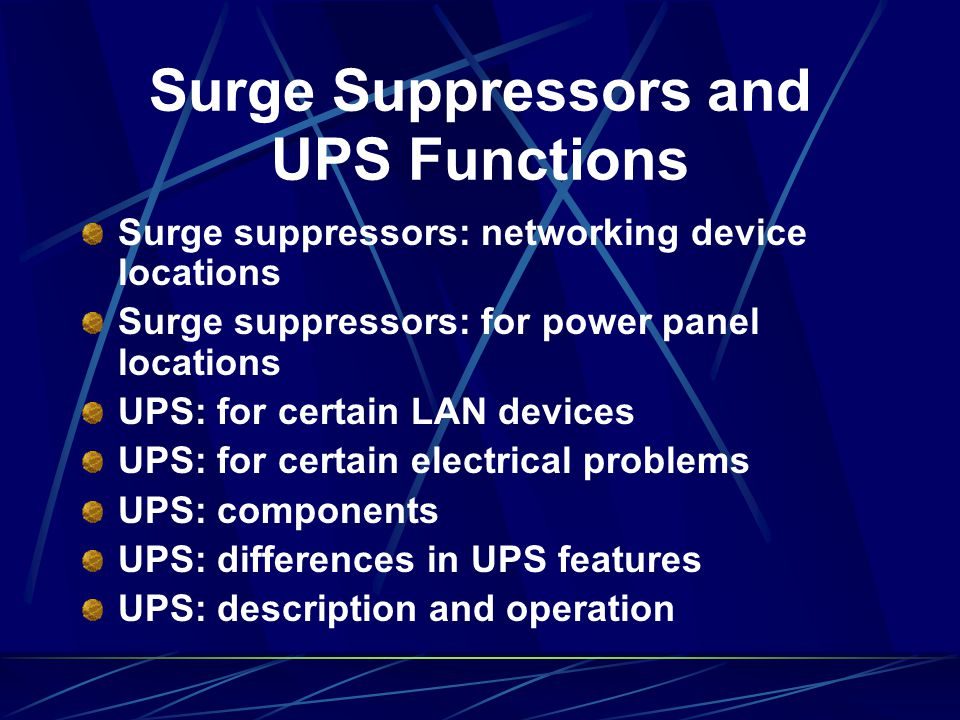 Surge Suppressors and UPS Functions