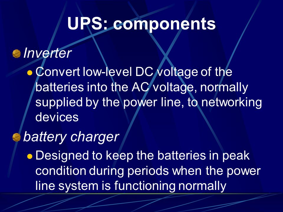 UPS: components Inverter battery charger