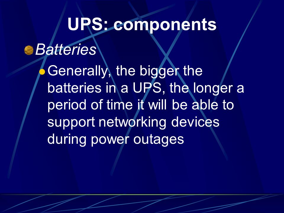UPS: components Batteries