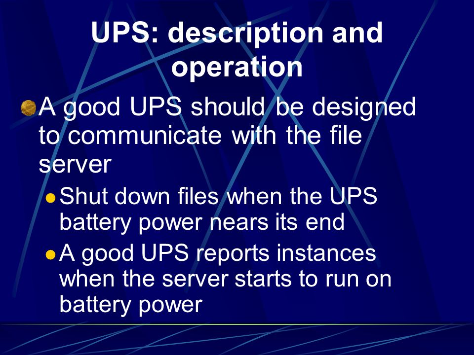 UPS: description and operation