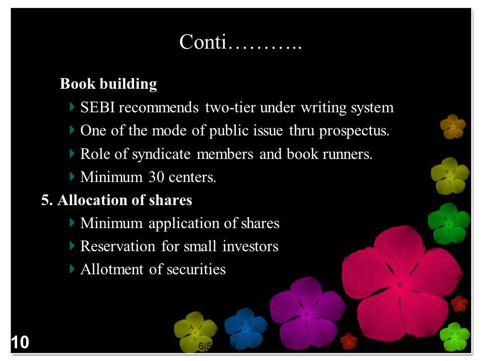 Conti……….. 4. Book building 10