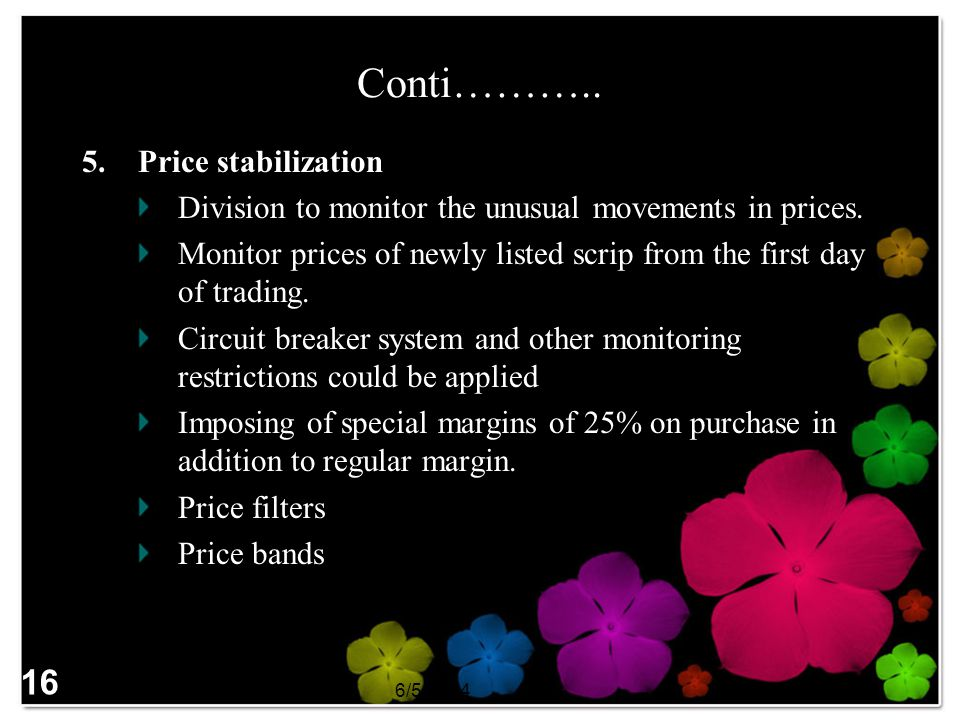 Conti……….. 16 Price stabilization