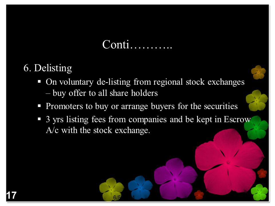 Conti……….. 6. Delisting. On voluntary de-listing from regional stock exchanges – buy offer to all share holders.