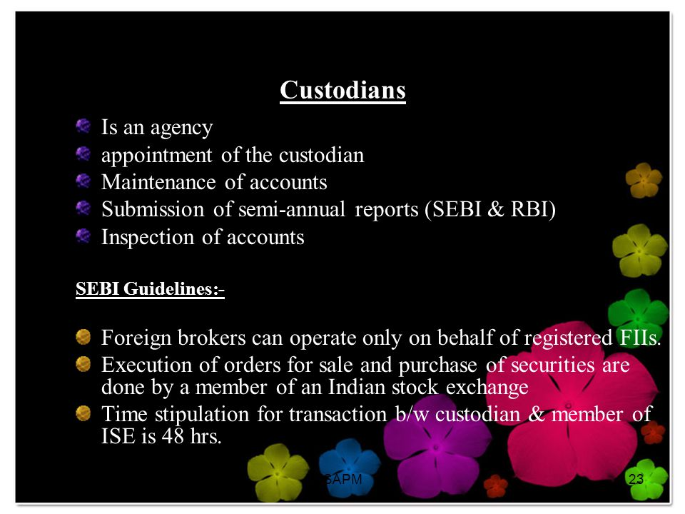 Custodians Is an agency appointment of the custodian