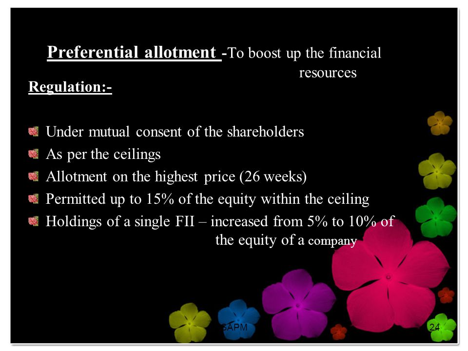Preferential allotment -To boost up the financial resources