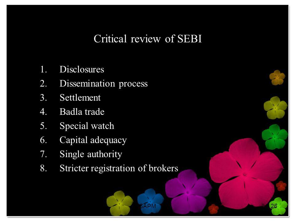 Critical review of SEBI