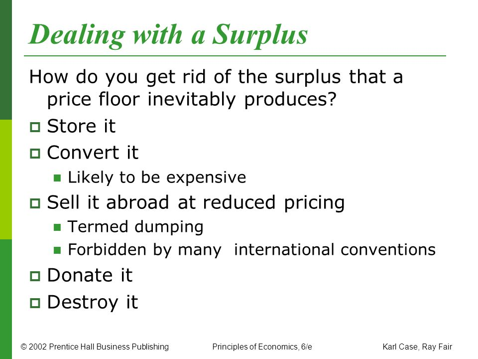 Dealing with a Surplus How do you get rid of the surplus that a price floor inevitably produces Store it.