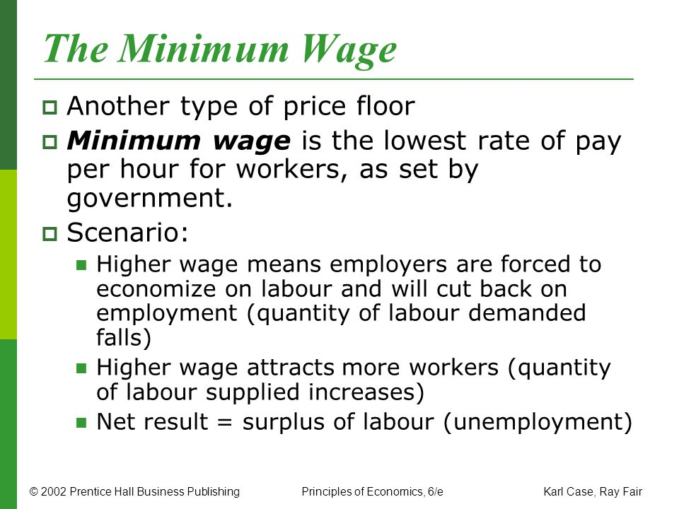 The Minimum Wage Another type of price floor