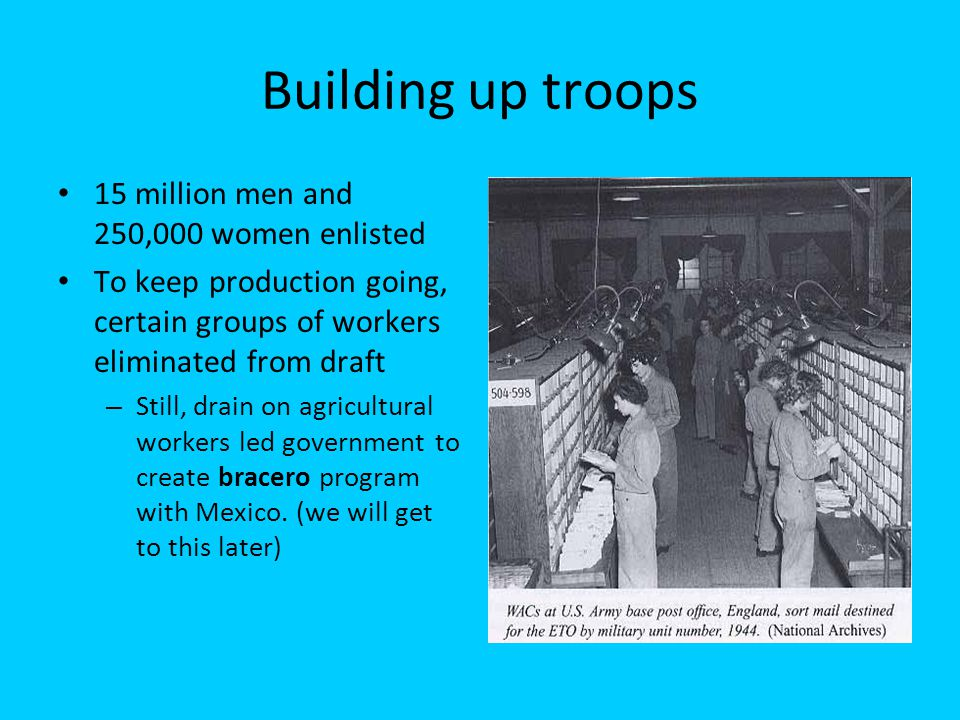 Building up troops 15 million men and 250,000 women enlisted