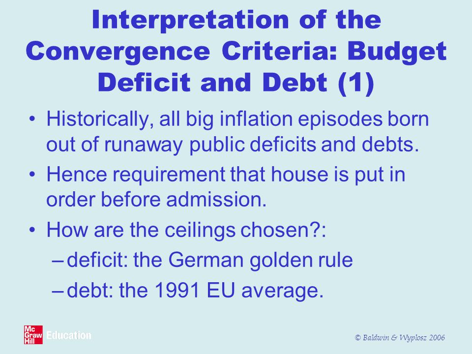Interpretation of the Convergence Criteria: Budget Deficit and Debt (1)