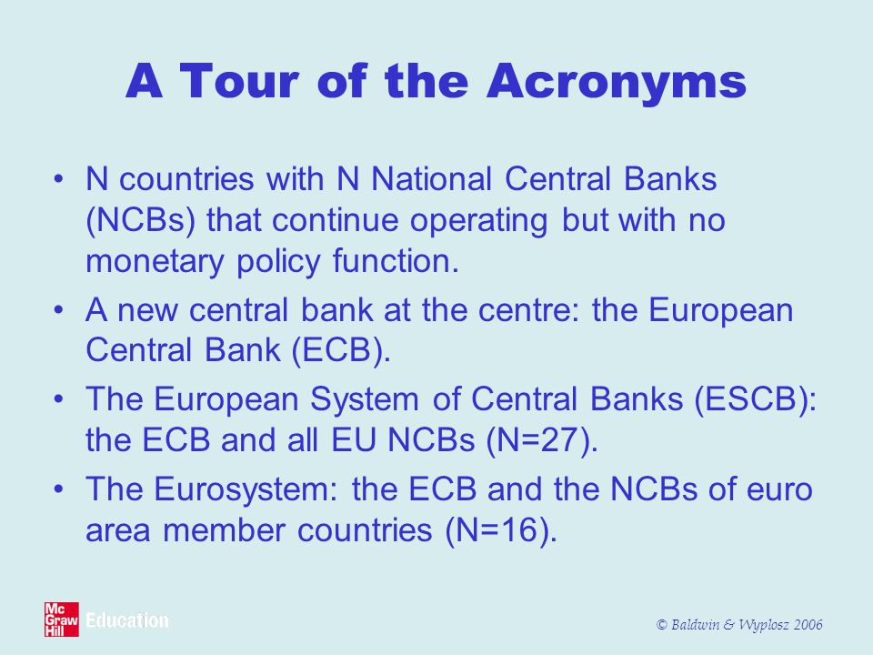 A Tour of the Acronyms N countries with N National Central Banks (NCBs) that continue operating but with no monetary policy function.