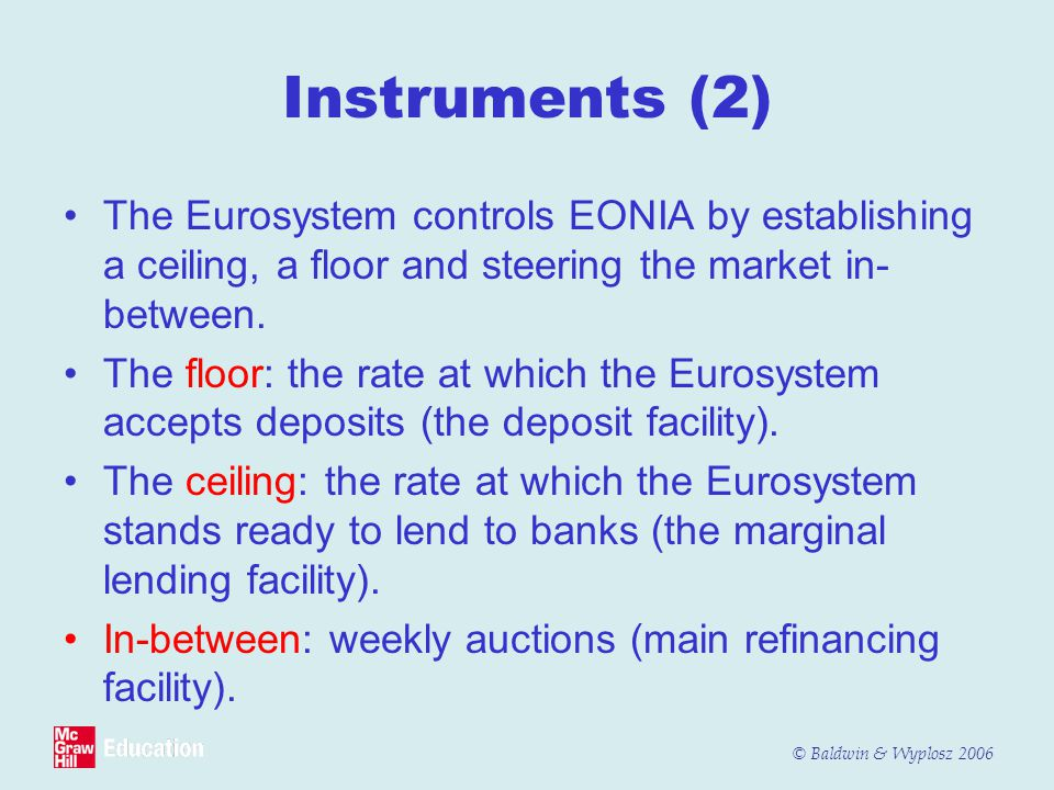 Instruments (2) The Eurosystem controls EONIA by establishing a ceiling, a floor and steering the market in-between.
