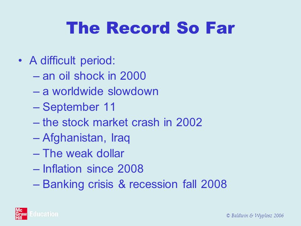 The Record So Far A difficult period: an oil shock in 2000