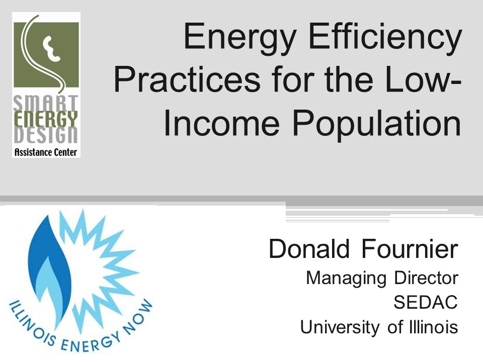 Energy Efficiency Practices for the Low-Income Population