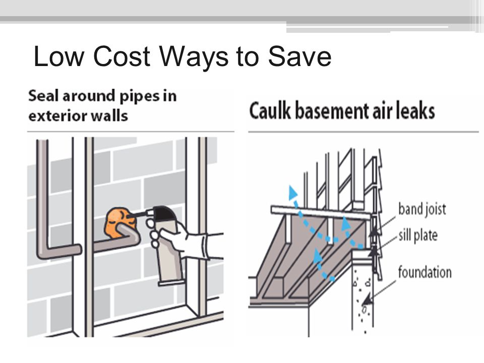 Low Cost Ways to Save Seal around pipes in exterior walls. Expanding foam sealants works well for sealing gaps more than ¼ inch wide.