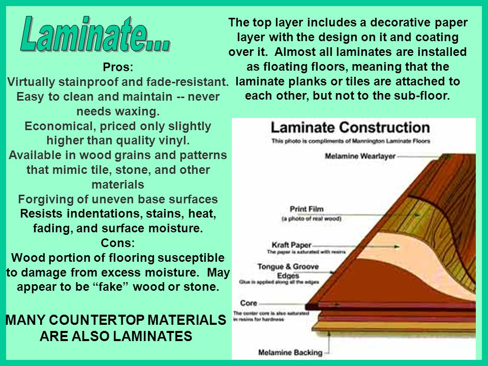 Laminate... MANY COUNTERTOP MATERIALS ARE ALSO LAMINATES