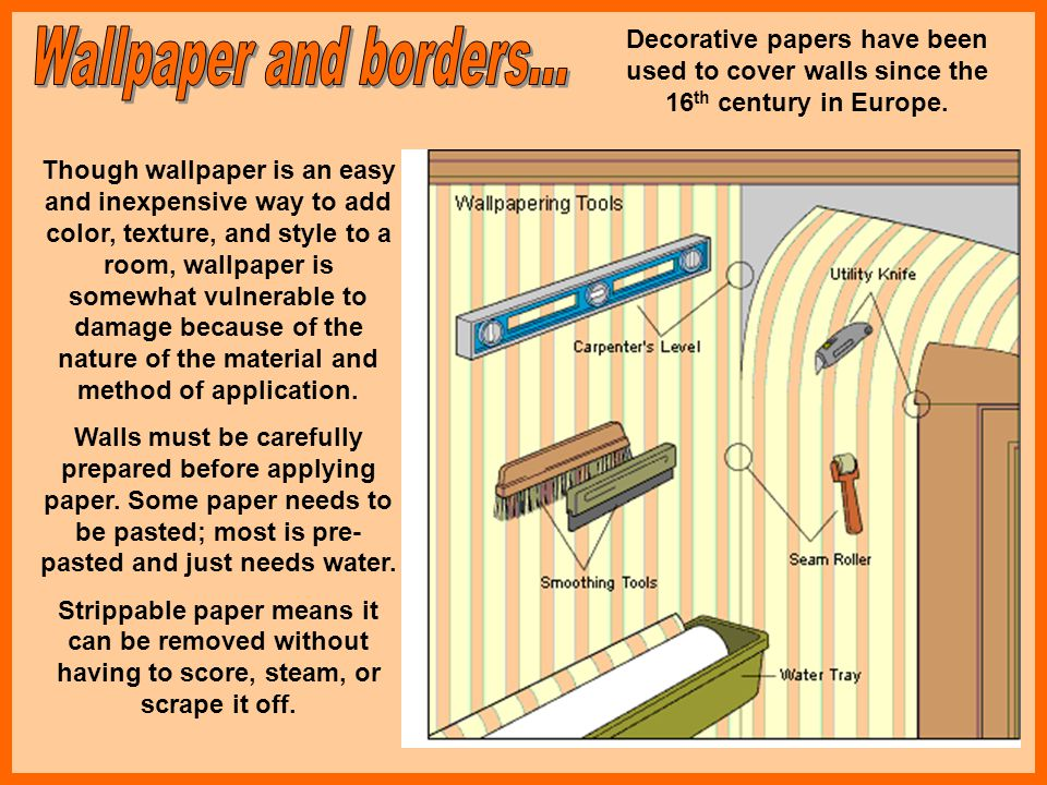 Decorative papers have been used to cover walls since the 16th century in Europe.