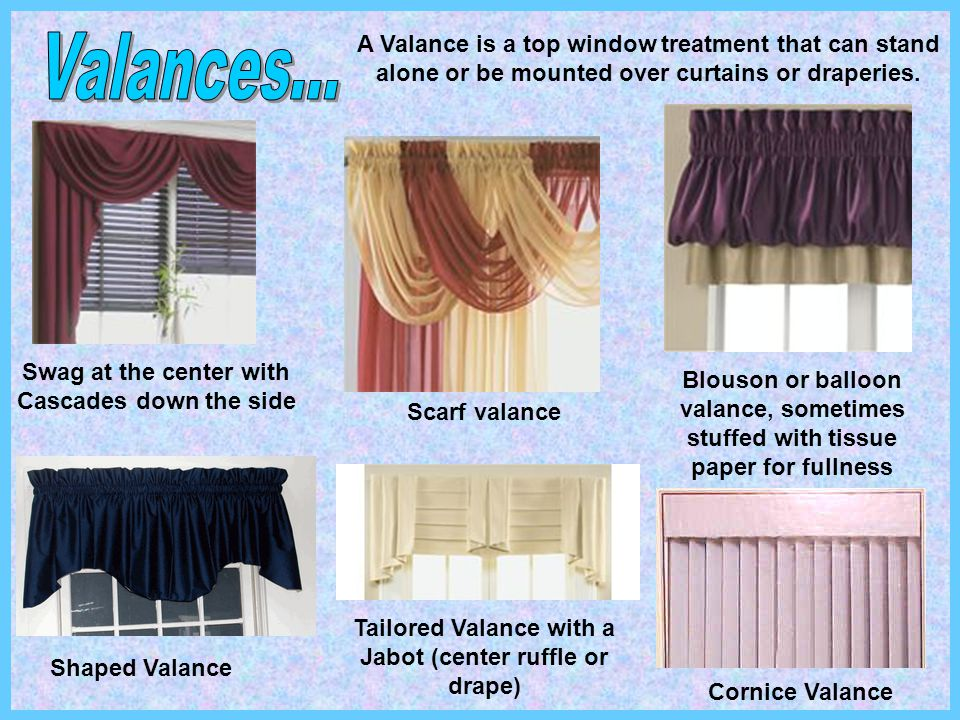 A Valance is a top window treatment that can stand alone or be mounted over curtains or draperies.