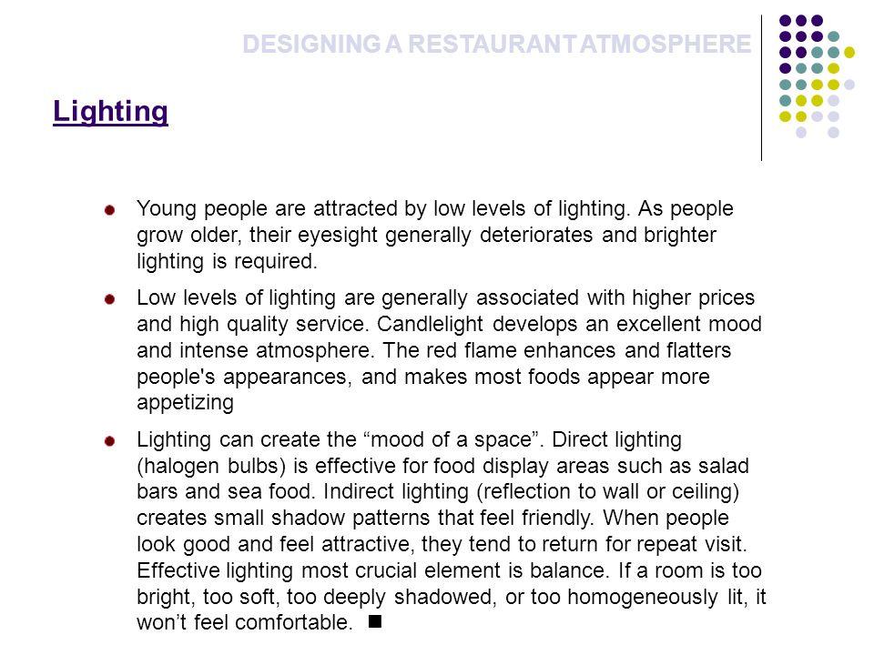 Lighting DESIGNING A RESTAURANT ATMOSPHERE