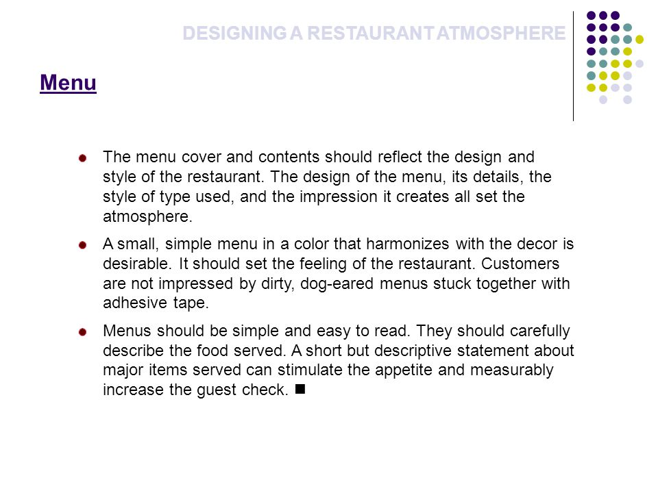 Menu DESIGNING A RESTAURANT ATMOSPHERE