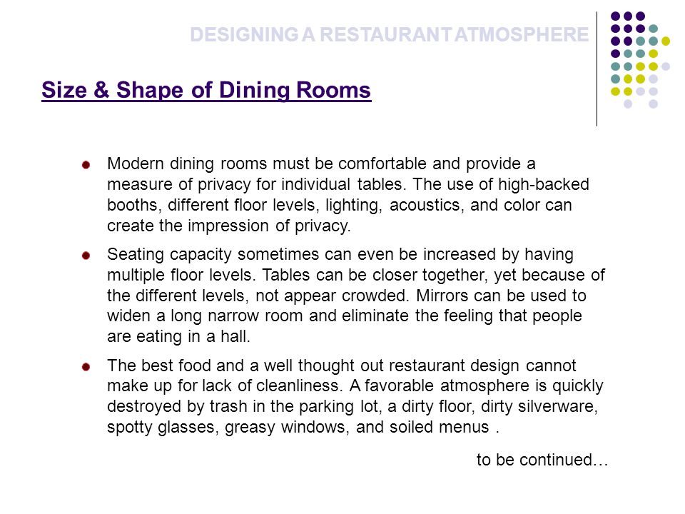 Size & Shape of Dining Rooms