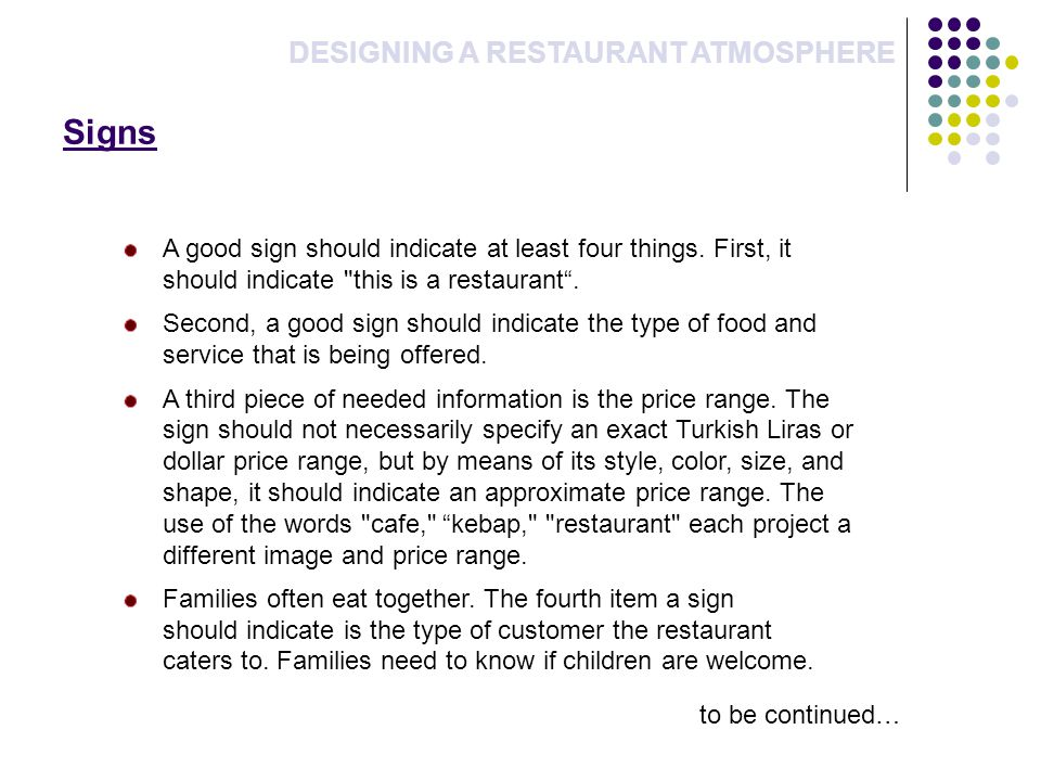 Signs DESIGNING A RESTAURANT ATMOSPHERE