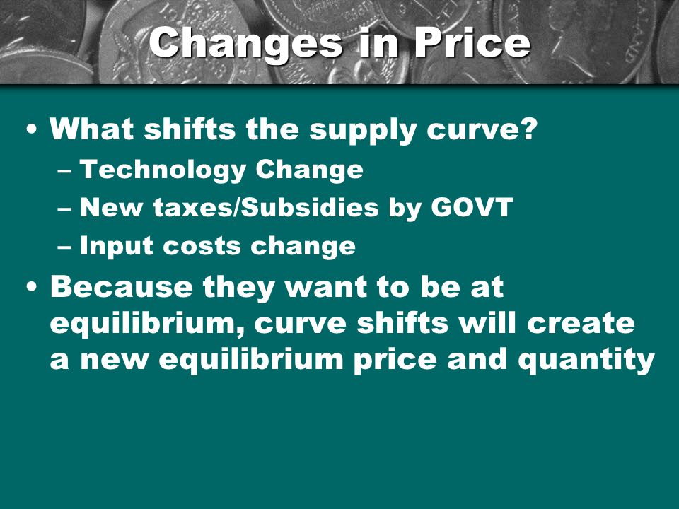 Changes in Price What shifts the supply curve