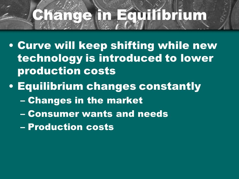 Change in Equilibrium Curve will keep shifting while new technology is introduced to lower production costs.