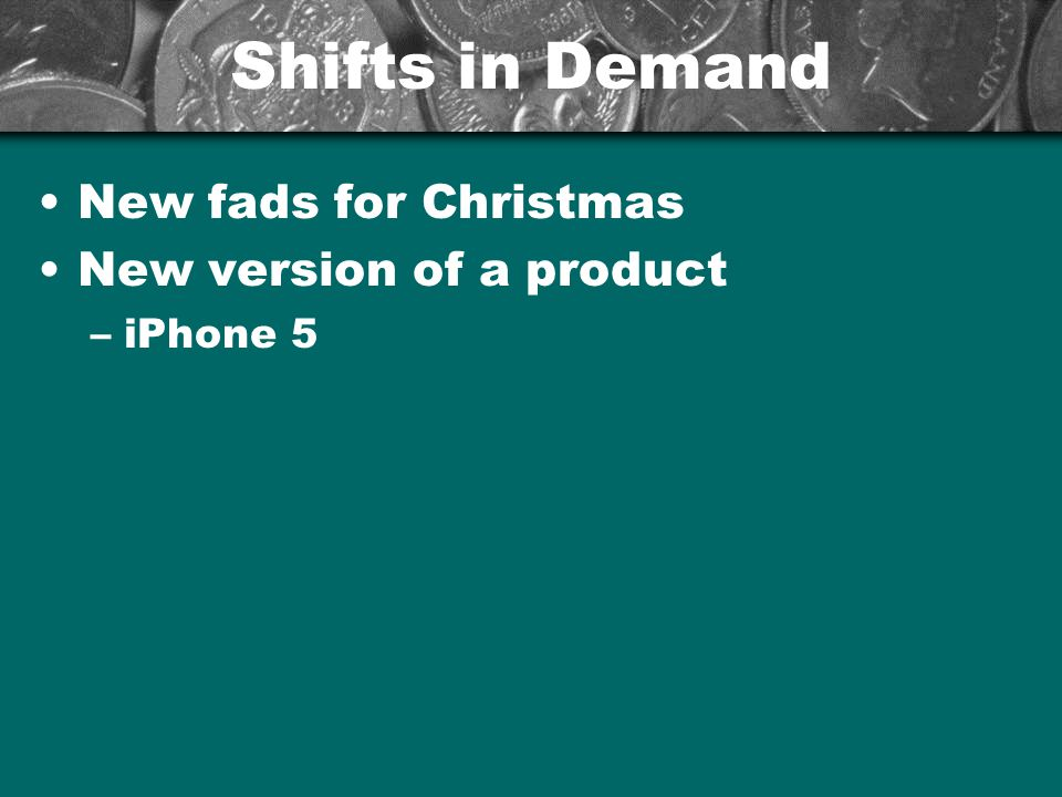 Shifts in Demand New fads for Christmas New version of a product