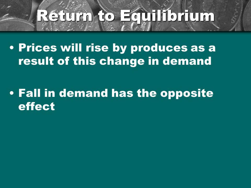 Return to Equilibrium Prices will rise by produces as a result of this change in demand.