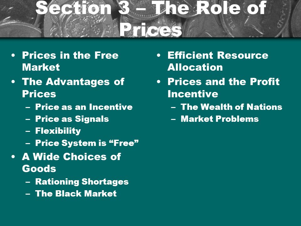 Section 3 – The Role of Prices