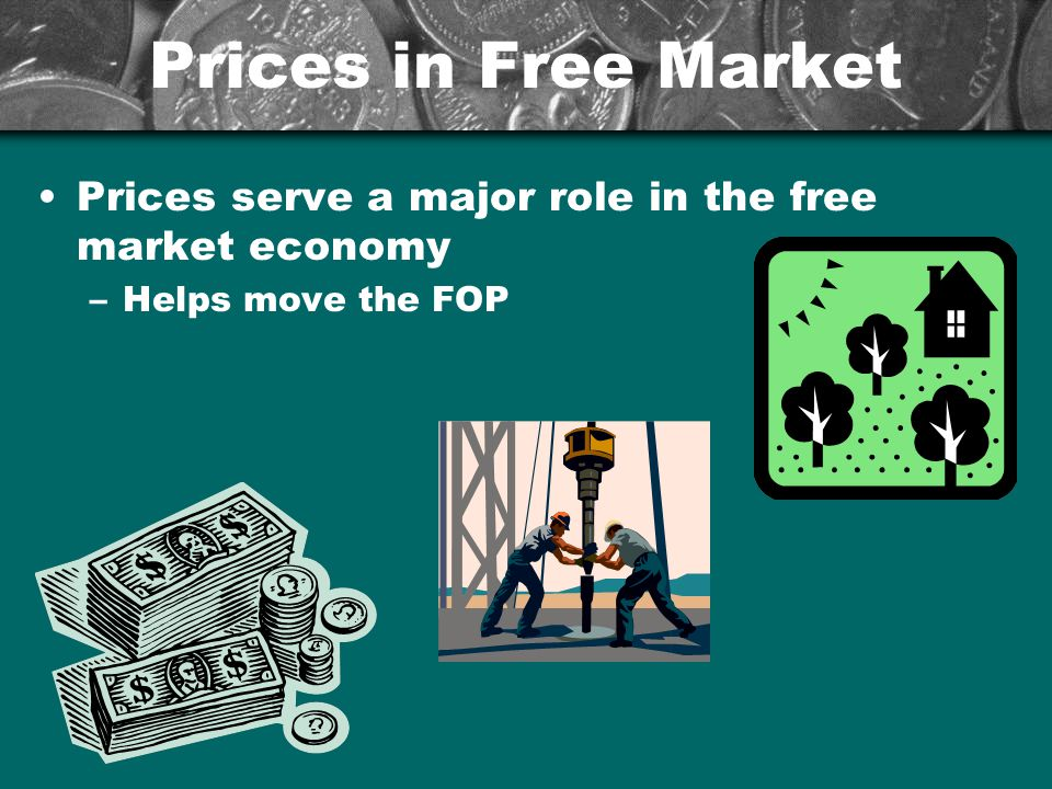 Prices in Free Market Prices serve a major role in the free market economy Helps move the FOP