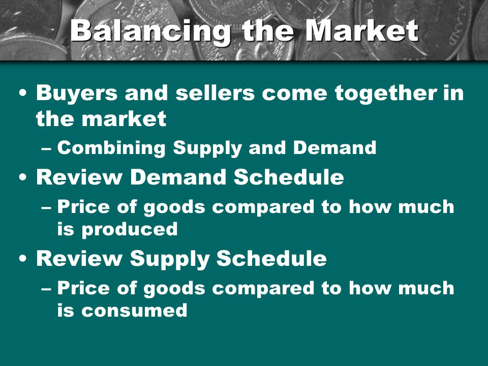 Balancing the Market Buyers and sellers come together in the market