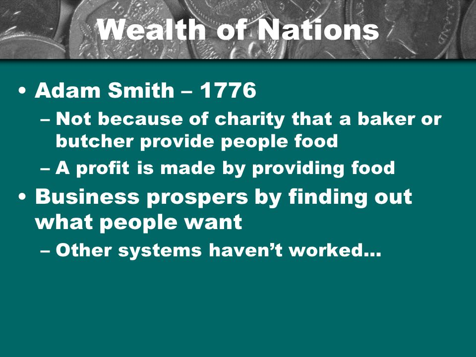 Wealth of Nations Adam Smith – 1776